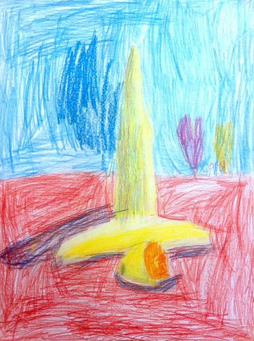 «Желтый натюрморт». Рисование с натуры. Цветные карандаши. Соня, 5 лет.