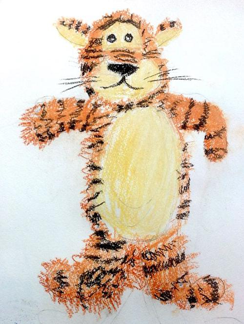 «Тигр с натуры». Пастель. Аня, 5 лет