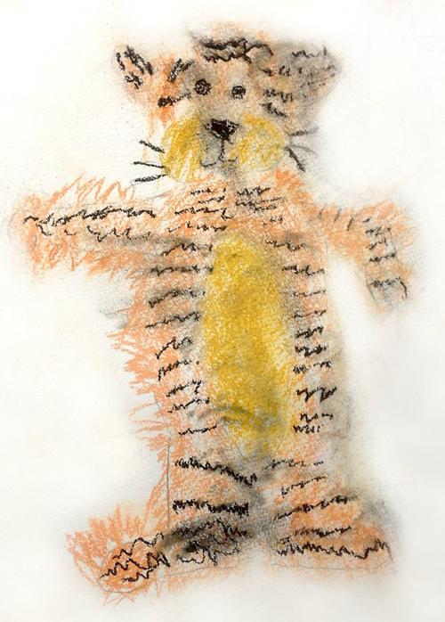«Тигр с натуры». Пастель. Лиза, 5 лет