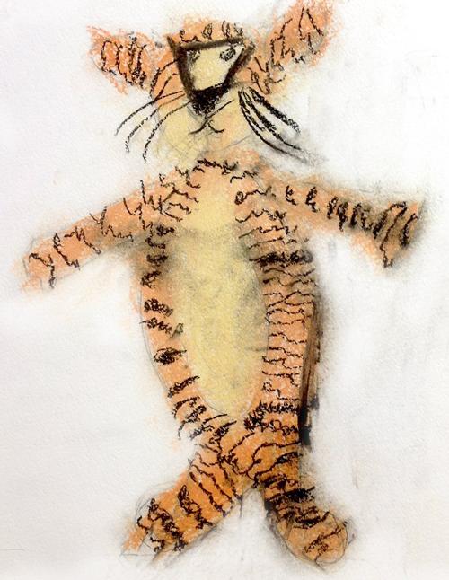 «Тигр с натуры». Пастель. Соня, 5 лет