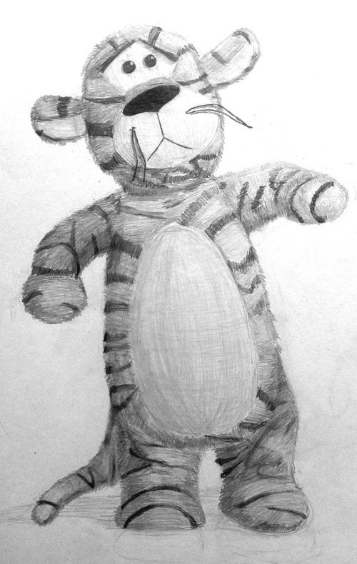 «Тигр». Рисование с натуры. Простые карандаши. Лада, 12 лет.