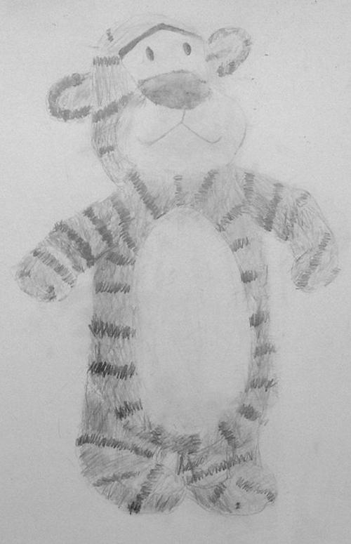 «Тигр». Рисование с натуры. Простые карандаши. Маша, 10 лет.