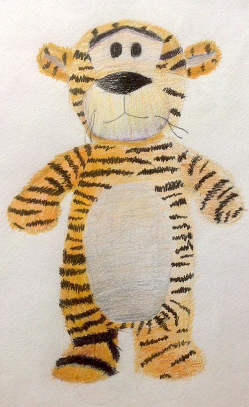 «Тигр». Рисование с натуры. Цветные карандаши. Алиса, 10 лет.