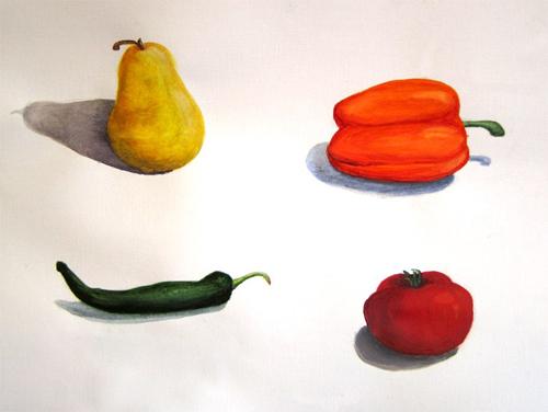 «Фрукты, овощи», акварель. Саша, взрослые