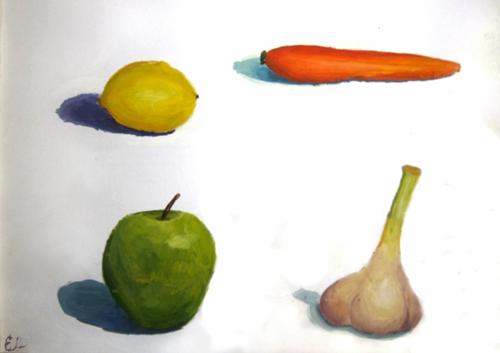 «Фрукты, овощи», гуашь. Работа над объемами. Лиза, 13 лет