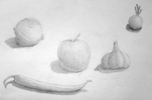 «Фрукты, овощи», карандаш. Денис, 11 лет.