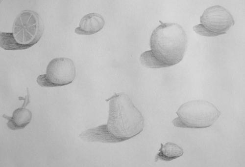 «Фрукты, овощи», карандаш. Настя, 13 лет