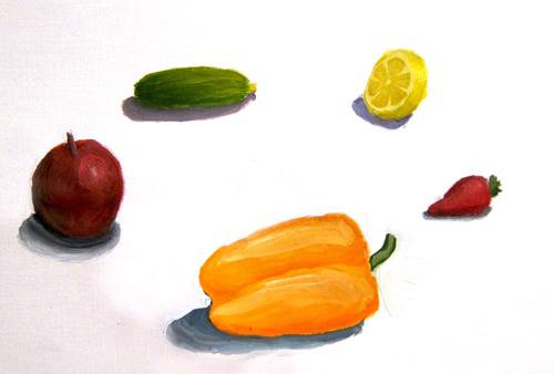 «Фрукты, овощи», работа над объемом и характером. Гуашь. Катя, 12 лет.
