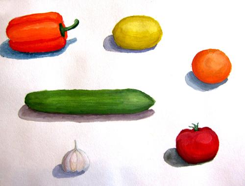 «Фрукты, овощи», работа над объемом и характером. Гуашь. Настя, 14 лет