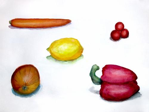 «Фрукты, овощи». Работа над объемом. Даша, 13 лет...