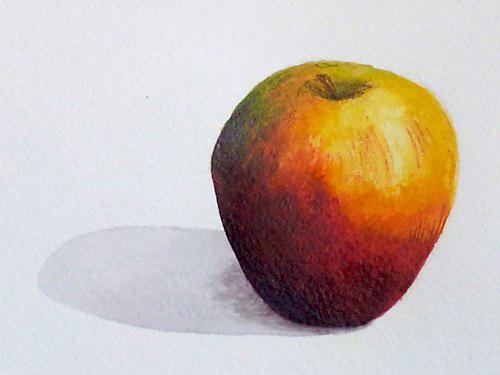«Яблоко», акварель. Юля, взрослые