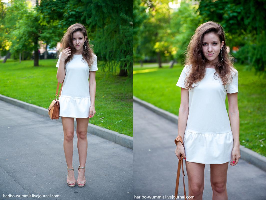 Белое платье черные босоножки