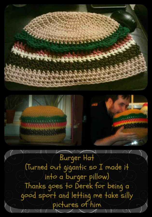 burger hat pillow