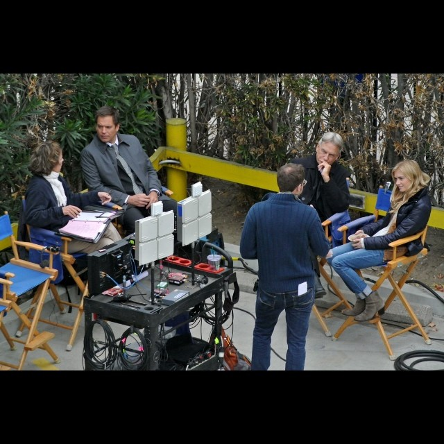 """Wickersham (A.K.A. Bishop) and cast filming S.11 Ep.9 """"Gut Check"""