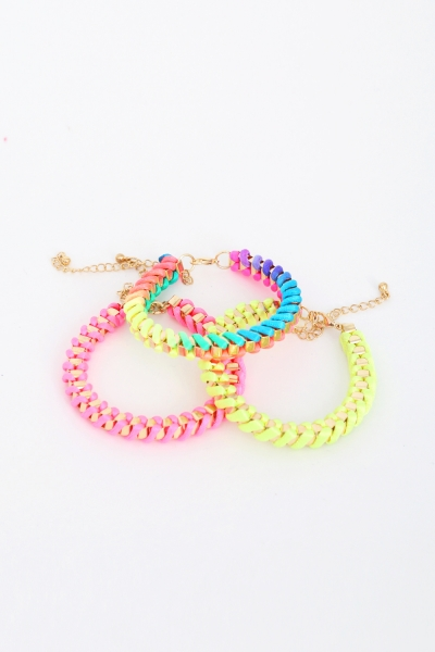 neon woven bracelet