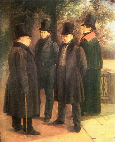 Пушкин, Крылов, Жуковский и Гнедич в Летнем саду. 1832. Худ. Г. Чернецов