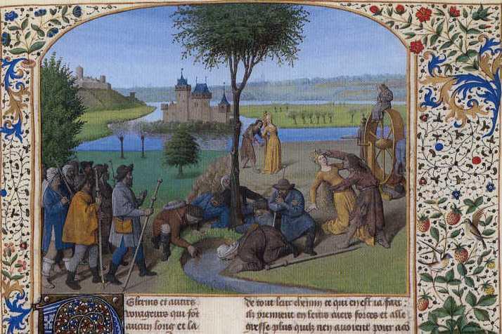 Отдых паломников и Битва Фортуны и Бедности. Иллюстрация Ж. Фуке. XV век