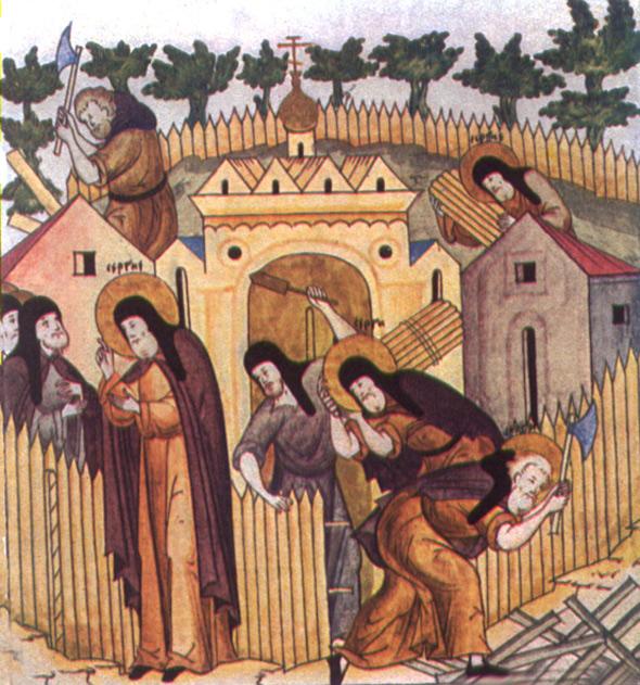 Миниатюра из лицевого «Жития преподобного Сергия Радонежского». XVI век