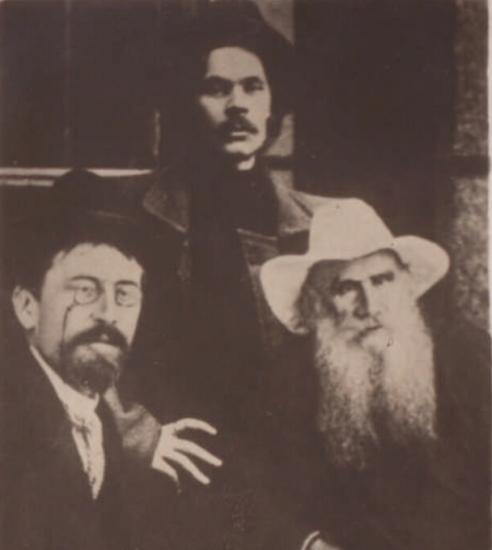 Чехов, Горький и Л. Толстой. Фото 1901 г.