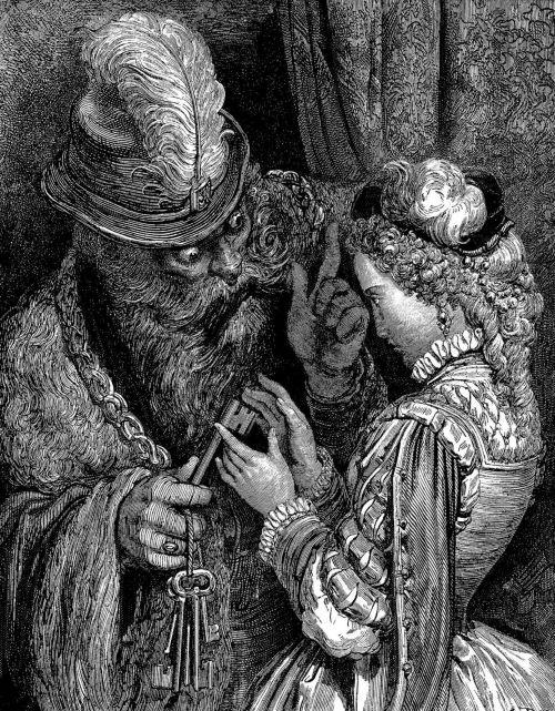 Синяя Борода. Гравюра Г. Доре, 1862 г.