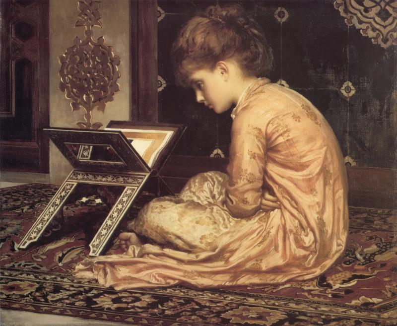 Учёба за читальным столом. Худ. Ф. Лейтон, 1877 г.