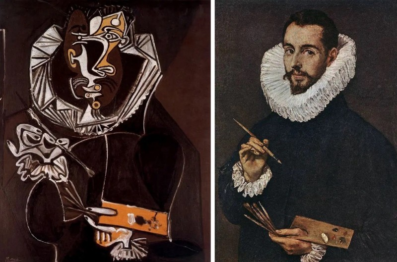 """Слева: Портрет художника, подражание Эль Греко, написанный Пикассо в 1950 г. Справа: оригинал Эль Греко """"Портрет сына художника, Хорхе Мануэля Теотокопулоса"""", 1603 г. Согласитесь, сходство очевидное!"""