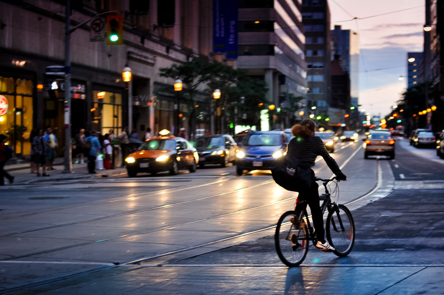 College St. Cyclist by Mike Hutch (mikehutch711) on 500px.com