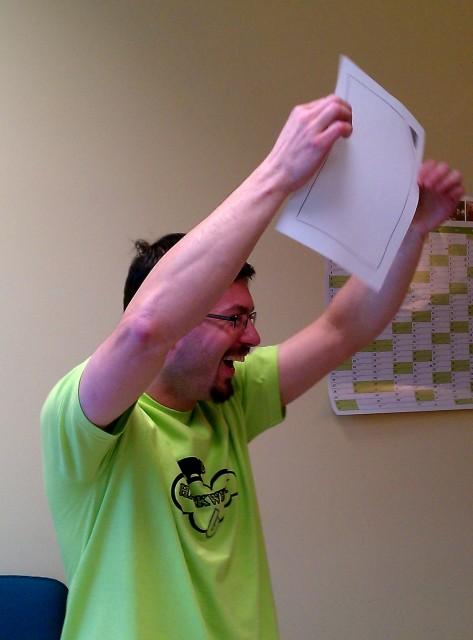 Kendy waving the LibreOffice flag