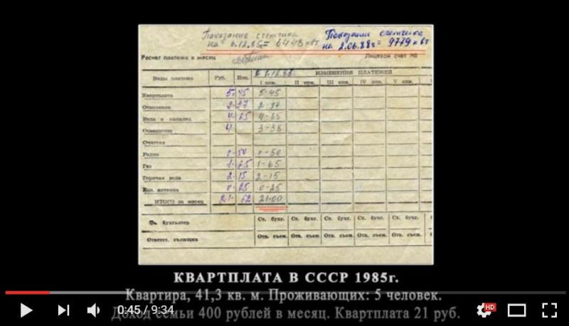 Квартплата в СССР 1985г.