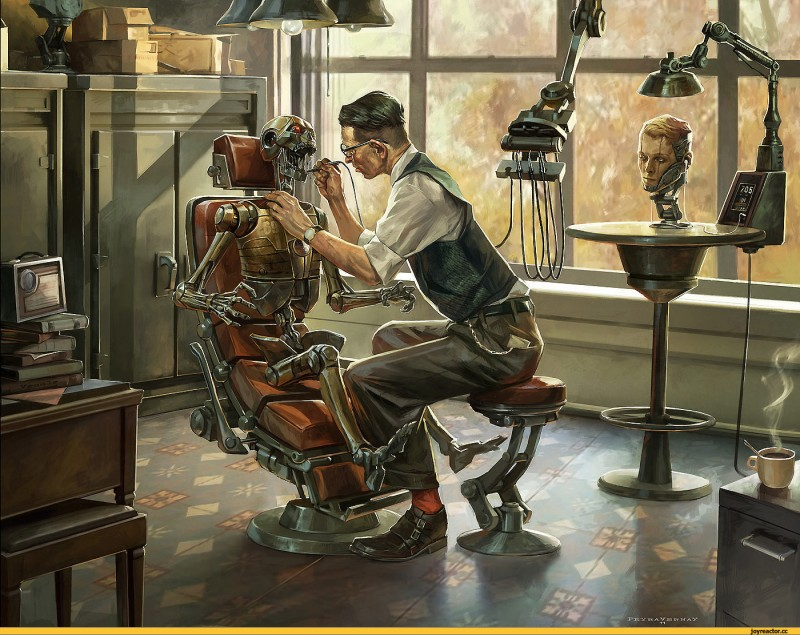 На приёме у сложно-неорганического стоматолога.