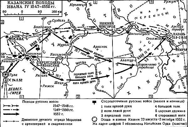 Схема походов Ивана Грозного