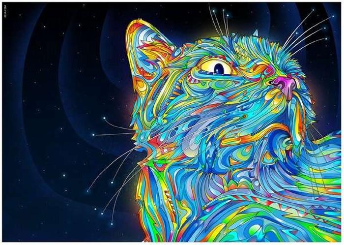 Психоделически яркие кошки в иллюстрациях Матея Апостолеску Matei Apostolescu