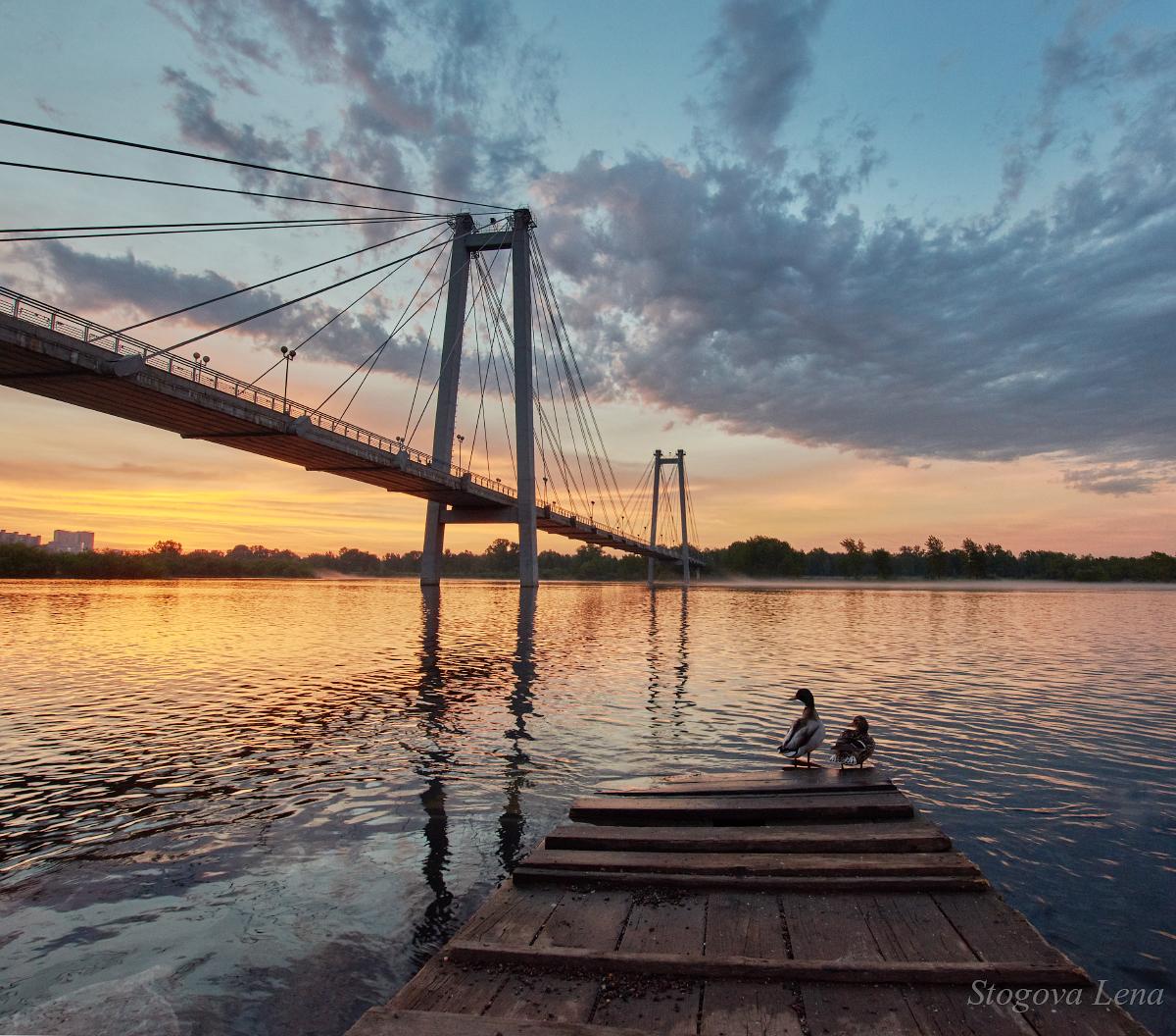 могут фотографировать рассвет с моста это очень
