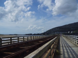 Crossing the railway bridge to Barmouth