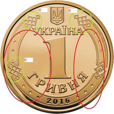 монета гривня шестёрки