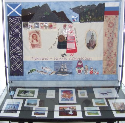 a quilted panel handstiched by the common threads group from Inverness
