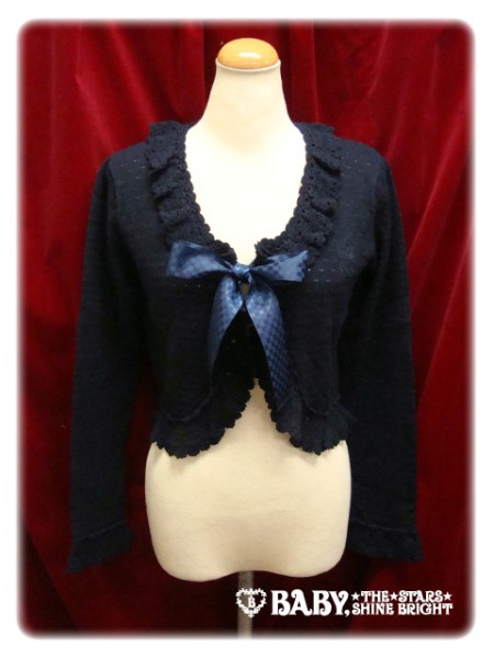 TransparentKnittingRibbonBolero-navy