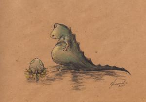 Динозаврик с яйцом