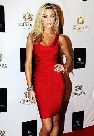 Herve Leger Abbey Crouch Bandage Dress Red