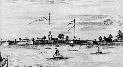 """""""Санктъ Петербургъ"""". Гравюра П.Пикарта. 1704. РНБ. Инв. Эг-743. Фрагмент."""