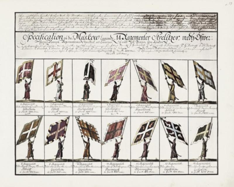 Знамёна и форма стрелецких полков. «Заметки о России, сделанные Эриком Пальмквистом в 1674 году»
