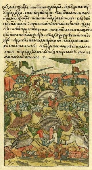 Ледовое побоище. Миниатюра Лицевого летописного свода, середина XVI века