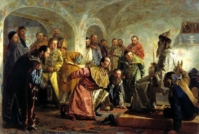 Опричники.Картина Н. В. Неврева. Изображено убийство боярина И. П. Фёдорова (1568), которого Грозный, обвинив в желании захватить власть, заставил надеть царские одежды и сесть на трон, после чего зарезал