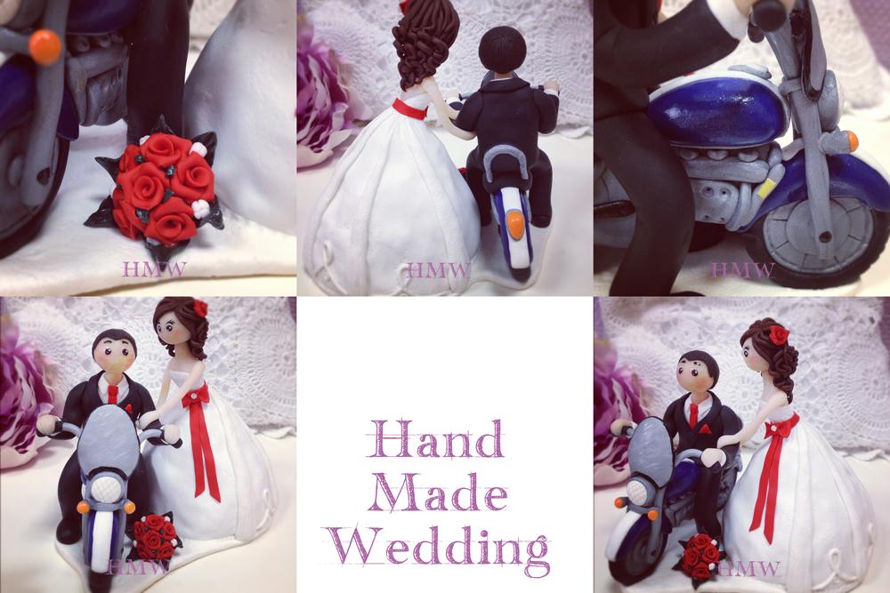 Фигурка на свадебный торт парочка на мотоцикле