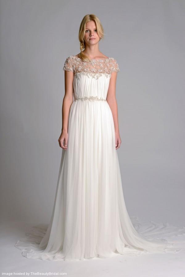 Marchesa-Column-Bridal-Dress-With-Embroidery-Neckline