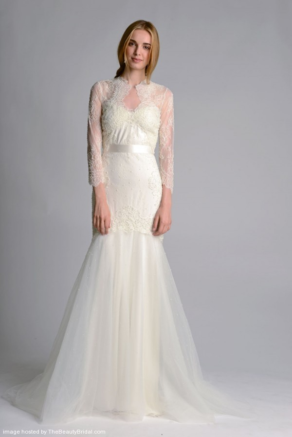 Marchesa-Fall-2014-Trumpet-Gown-With-Long-Sleeve