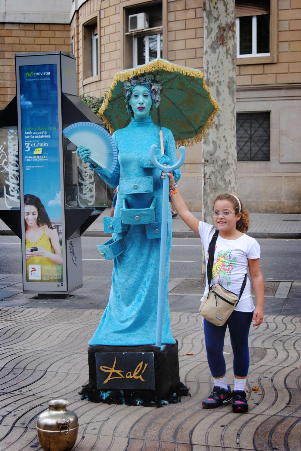живая скульптура, Рамбла, Барселона