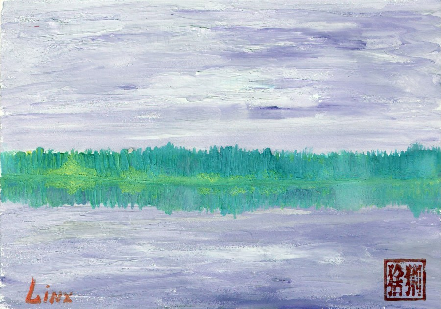 Речной пейзаж с отражением