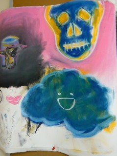 pastel drawing with skull, cloud, and objects