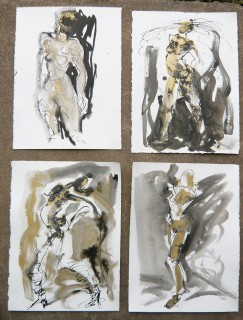life drawings in gold pigment and India Ink by Honoria Starbuck 2009